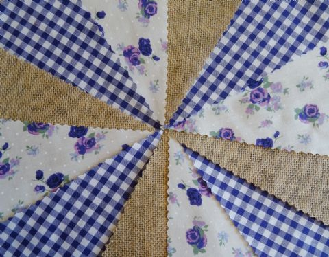 BUNTING - Hessian Burlap - Purple Gingham - Purple & Lilac Roses - 10m/32ft
